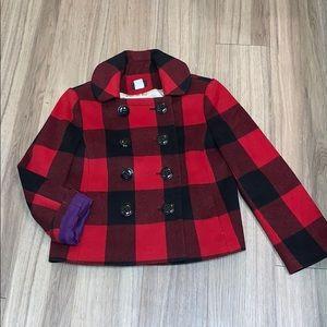 J. Crew Red & Black Flannel Coat